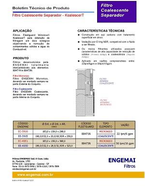 ELEMENTOS DO COMBUSTÍVEL - COALESCENTES & SEPARADORES - KoalescerT - ENGEMAI
