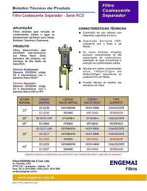 ELEMENTOS DO COMBUSTÍVEL - COALESCENTES & SEPARADORES PARA SERIE RCS - ENGEMAI