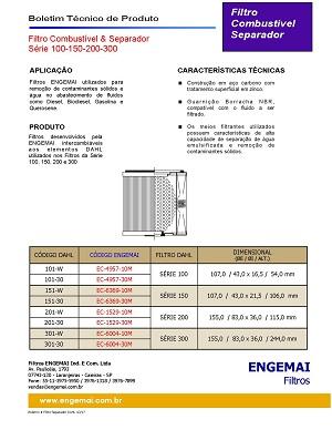 ELEMENTOS DO COMBUSTÍVEL - SEPARADOR PARA FILTROS DAHL SERIE 100-150-200-300 - ENGEMAI