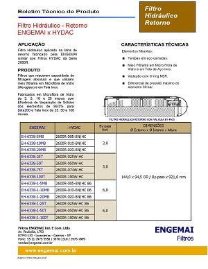 ELEMENTOS DO HIDRÁULICO - RETORNO - ENGEMAI x HYDAC